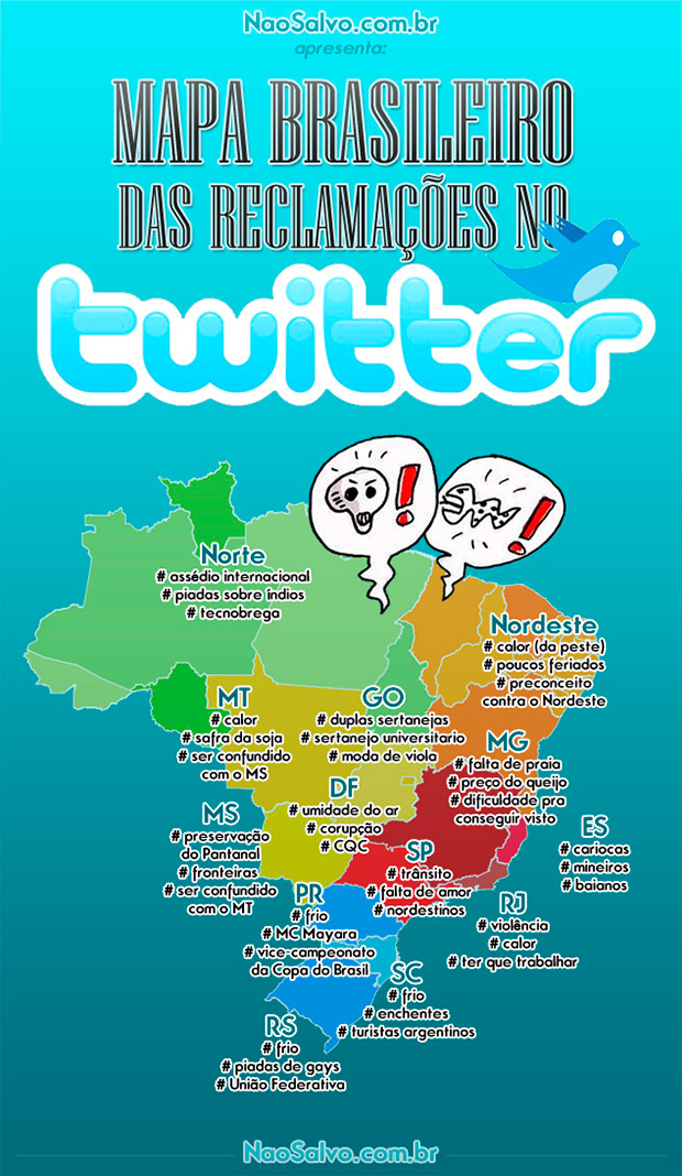 Mapa das reclamações dos brasileiros no Twitter