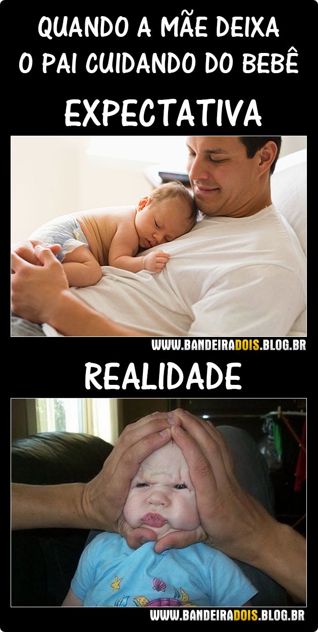 Pai cuidando do bebê