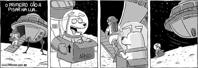 O primeiro cão a pisar na lua...