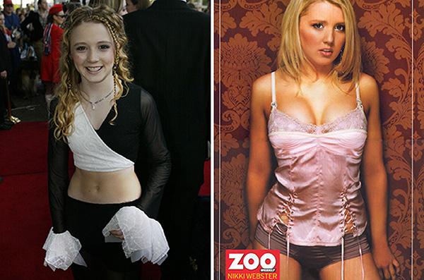 A australiana Nikki Webster em 2002 e em 2007 na Zoo Magazine.