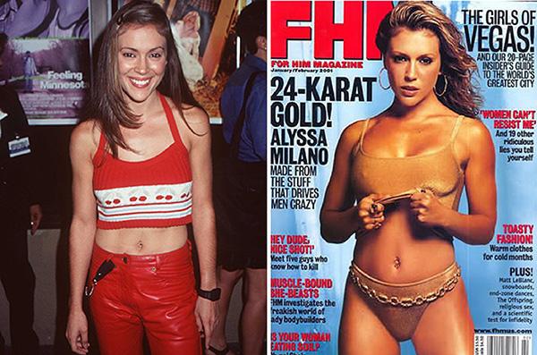 Alyssa Milano em 1996, quatro anos depois do fim de Who´s the Boss, série pela qual ficou conhecida e na capa da FHM de janeiro de 2001.