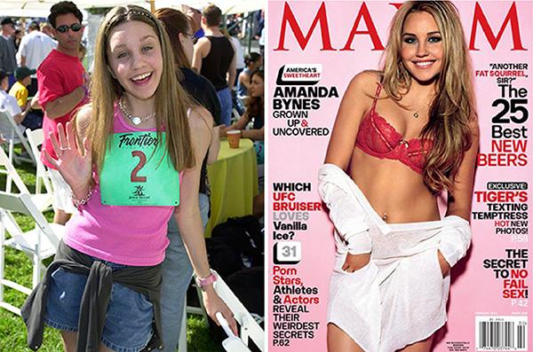 Amanda Bynes em 2000, no início de sua carreira, e na capa da revista americana Maxims em janeiro de 2010.