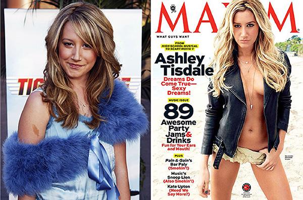 Ashley Tisdale em 2004, dois anos antes do sucesso High School Musical e a atriz em maio de 2013 na capa da Maxims. Ela ficou em sétimo lugar no ranking de mulheres mais atraentes feito pela revista.
