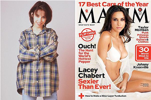 Lacey Chabert na época de Party of Five e à direita na recém-lançada edição da Maxims de novembro de 2013. A atriz de 31 anos já posou para a revista mais de uma vez.