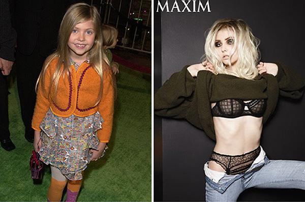 """Taylor Momsen em 2000, na época do lançamento do filme O Grinch, e na revista americana Maxims em novembro de 2013. /Fotos: Getty Images e Divulgação"""" title=""""Taylor Momsen em 2000, na época do lançamento do filme O Grinch, e na revista americana Maxims em novembro de 2013."""