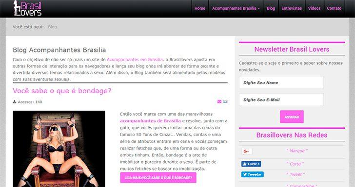 Layout do site com seu blog de conteúdo inédito | acompanhantes de luxo em Brasília